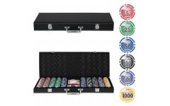 Набор для покера Leather Black на 500 фишек - Уцененный